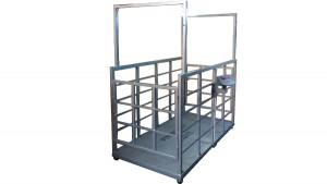 Hayvan Baskülü imalatı Kafesli çift kapılı hayvan kantarı baskül